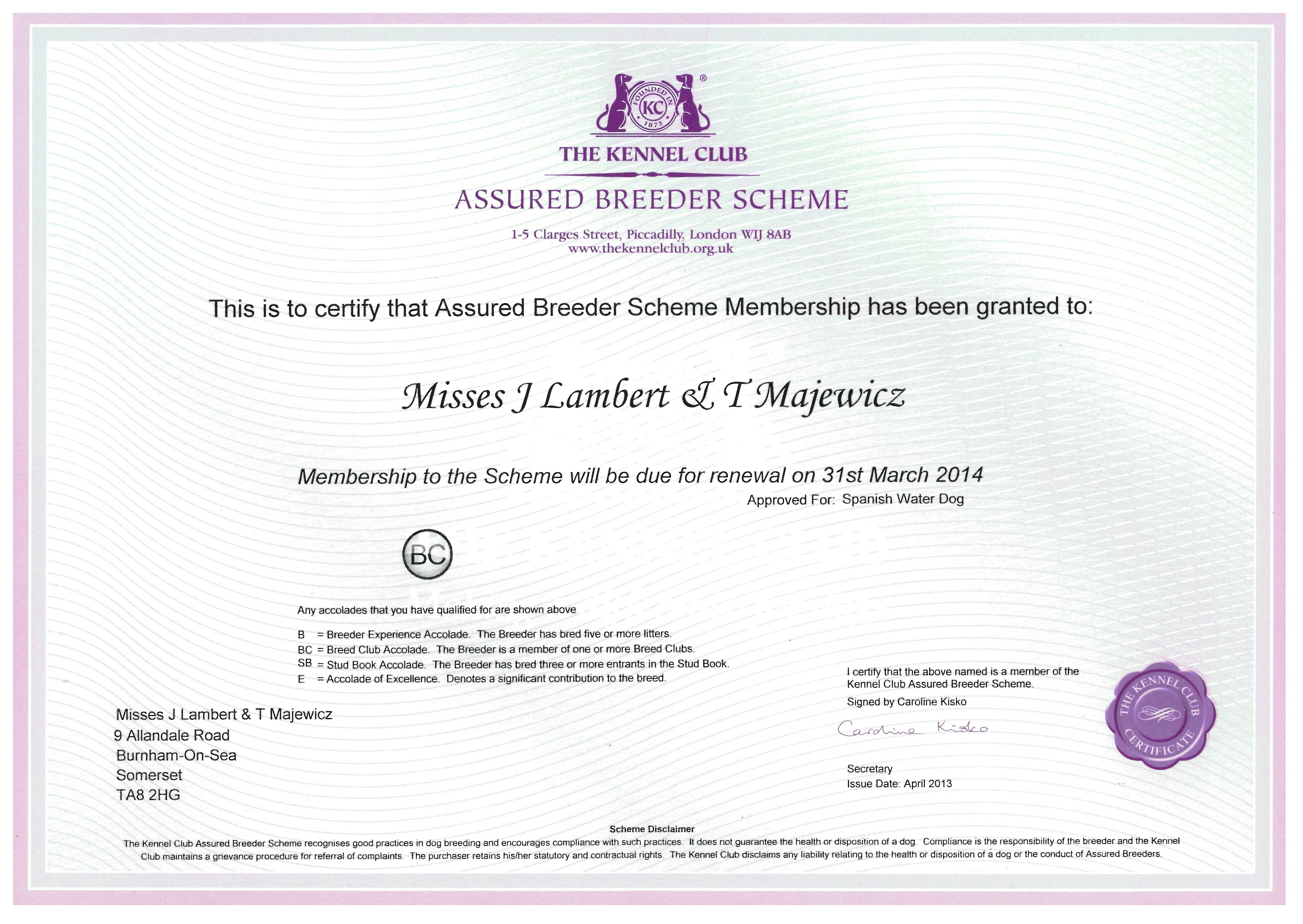 Assured Breeders Certificate